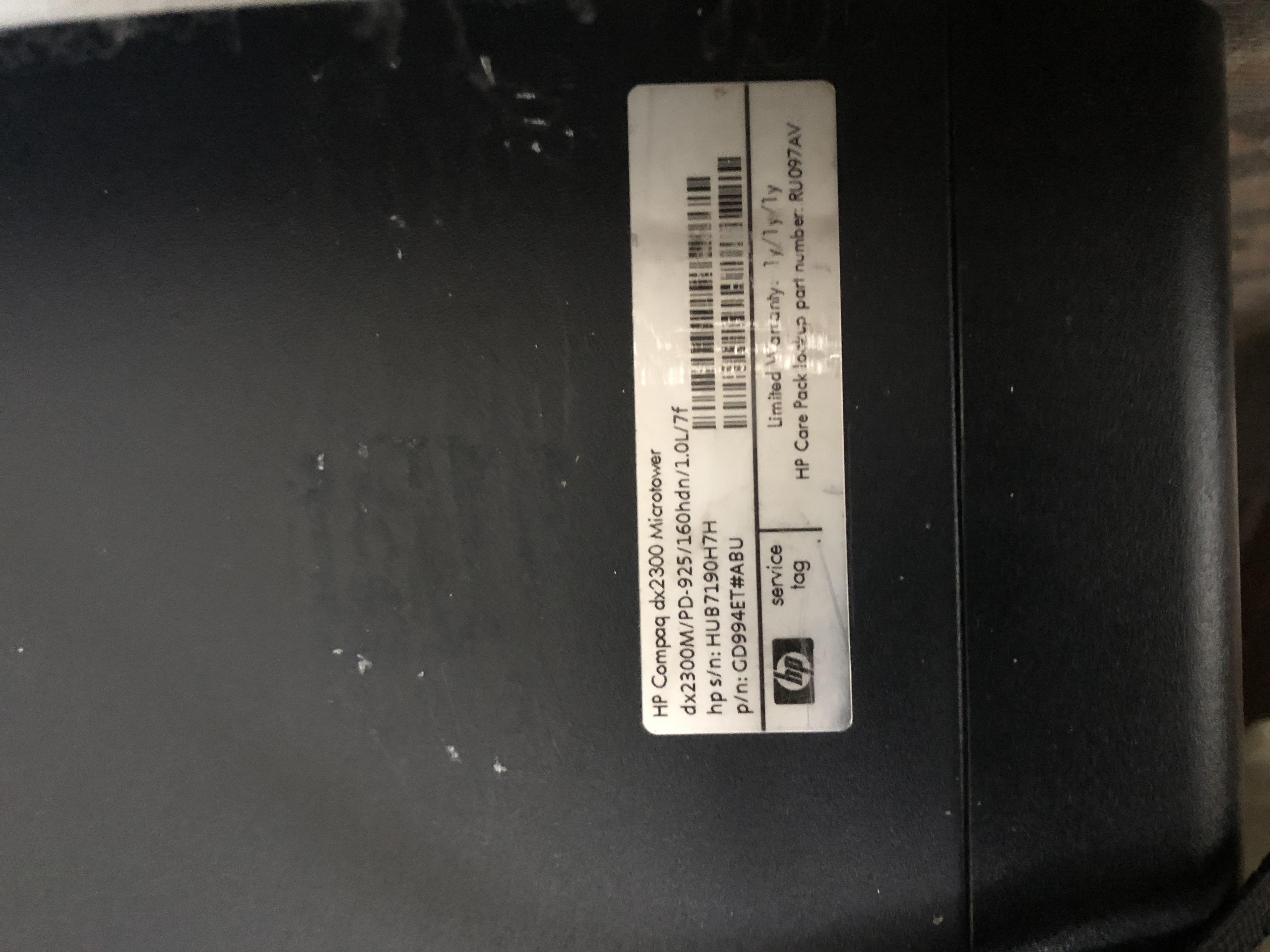 HP Compaq DX2300 Microtower, Black, Windows 10 Home. Intel Dual Core Processor