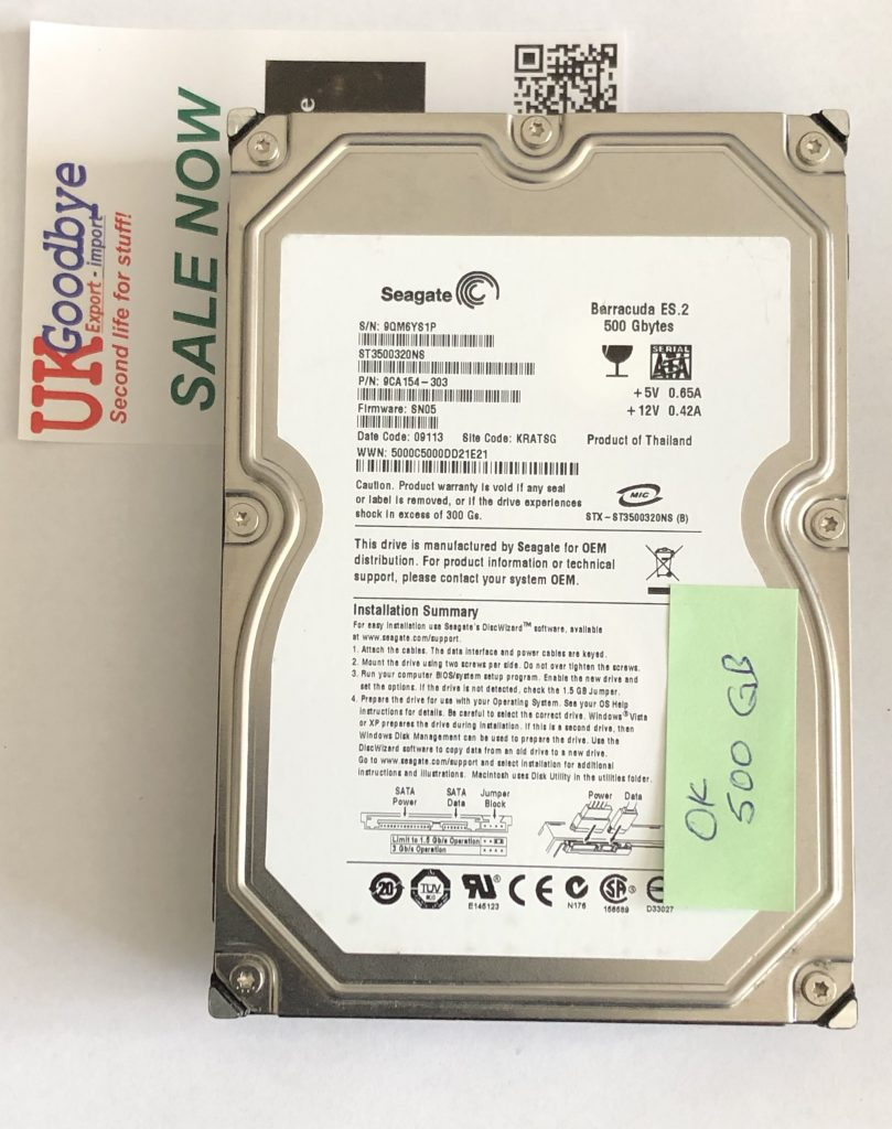 "Hard Drive 500GB Seagate SATA 3.5"" HDD DESKTOP model ST3500320NS"