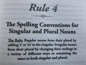 The spelling conventions for singular and plural nouns